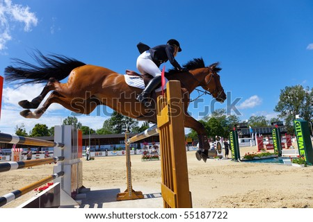 SOPOT - JUNE 12 : The international equestrian show-jumping - CSIO June 12, 2010 in Sopot, Poland. - stock photo
