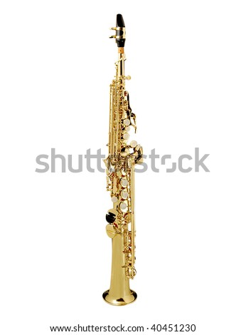 Soprano Sax, wind instrument. On a white background - stock photo