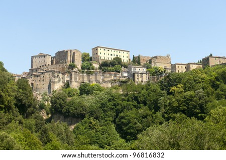 Sorano (Grosseto, Tuscany, Italy), panoramic view of the medieval town