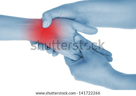sore wrist, hand, shown red, keep handed, isolated on white background