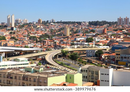 SOROCABA, BRAZIL -May 1: Downtown Sorocaba in Brazil on May 01, 2015 in Sorocaba.Eigth largest city in Sao Paulo state , Its export to over 115 countries, with an income of US$370 mn yearly - stock photo