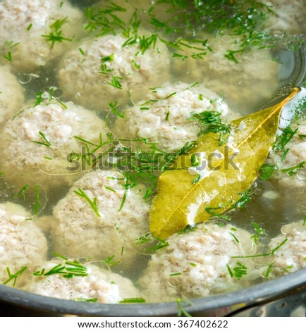 Sorrel soup with meatballs . - stock photo