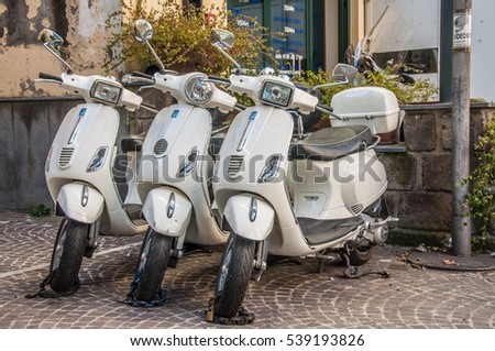 SORRENTO, ITALY, 18. Dec. 2016: Motorbikes for rent in Sorrento, Italy