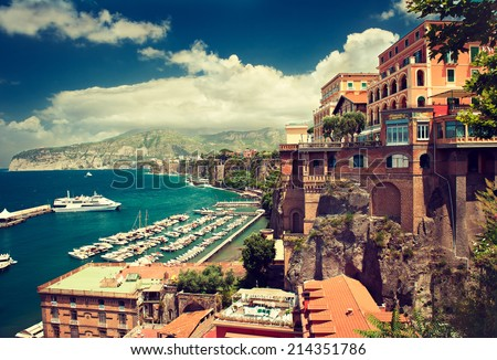 Sorrento place , Italy,cliff and beach - stock photo