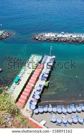 Sorrento's  beach view, Amalfi Coast, Italy - stock photo