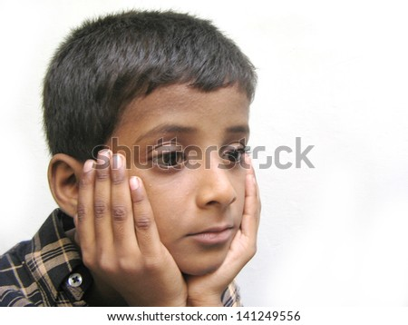 Sorrowful kid - stock photo