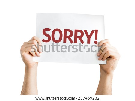 Sorry! card isolated on white background - stock photo