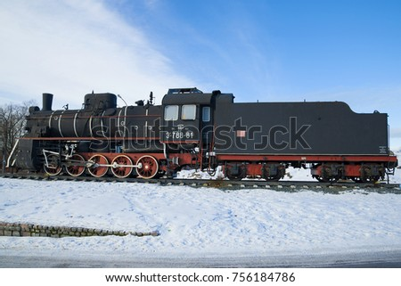 "SORTAVAL, RUSSIA - FEBRUARY 18, 2017: Soviet steam locomotive of the ""Er"" series on the February day. Karelia"