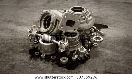 sorted turbocharger of car on grunge background. High resolution 3d - stock photo