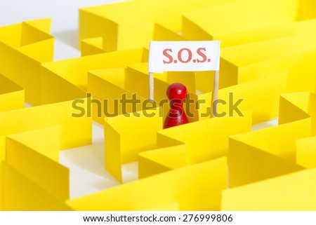 SOS lost in a maze - stock photo