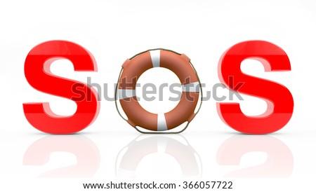 SOS on white background - stock photo