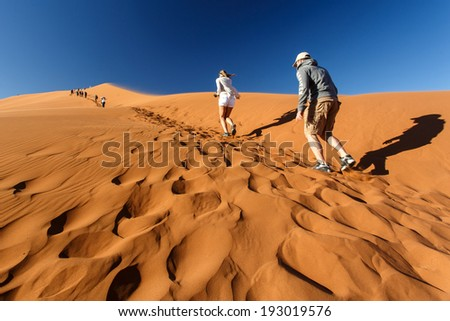 SOSSUSVLEI, NAMIBIA - NOVEMBER 2 2013: Tourists climb Dune No.45 in a year that was declared as a drought year by the government in Namibia, Africa - stock photo