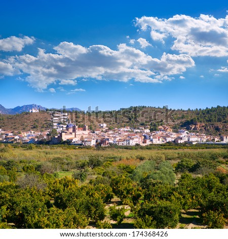 Sot de Ferrer whitewashed village in Valencia Spain - stock photo