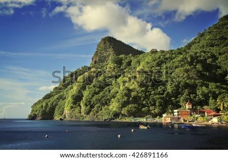 Soufriere village, Soufriere, Dominica - stock photo