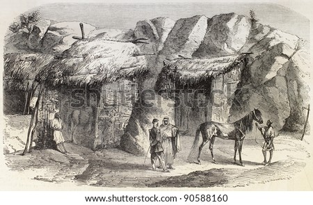 Souk Ahras surroundings, Algeria: northern side of Ain-Guettar stallions stud. Created by Janet-Lange after Lefebvre, published on L'Illustration, Journal Universel, Paris, 1858 - stock photo