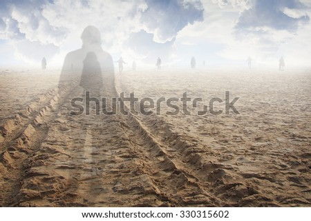 Soul of a man in the land of the shadows. Surreal and ethereal - stock photo