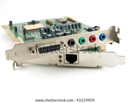 Sound and network cards over white - stock photo
