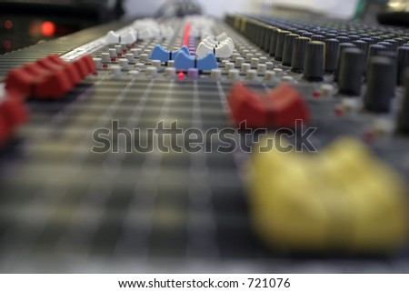 Sound Console Faders and Knobs from Side - stock photo