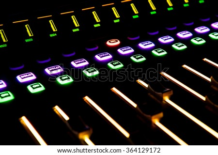 Sound control with LED backlight - stock photo