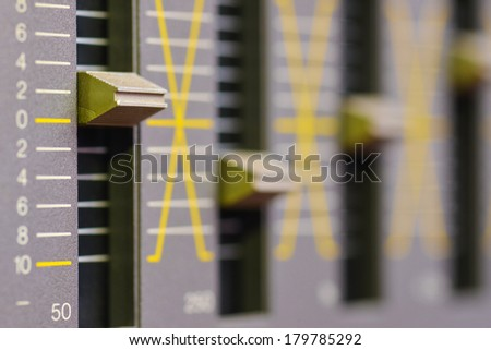 Sound equalizer five channels in natural light - stock photo