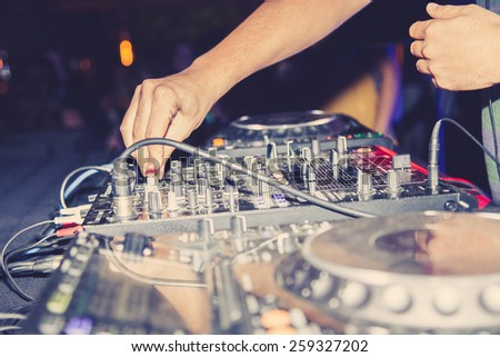Sound equipment, dj nightclub - stock photo