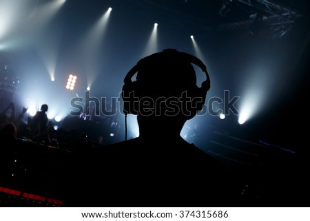 Sound manager on rock concert - stock photo