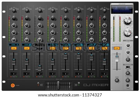 Sound Mixer Board with recording controls - stock photo