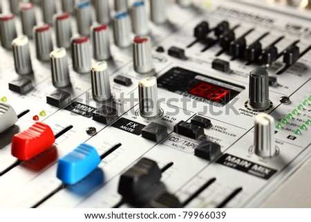 Sound mixer closeup - stock photo