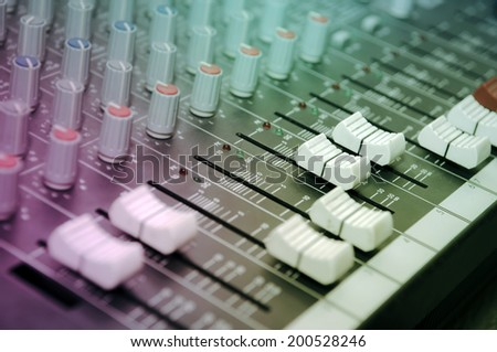 Sound mixer control panel, close-up of audio controls