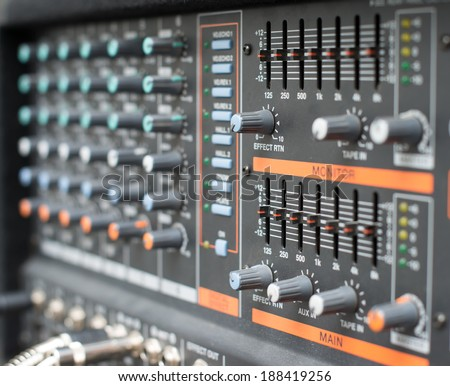 Sound mixer control panel, Mixer photographed from side angle