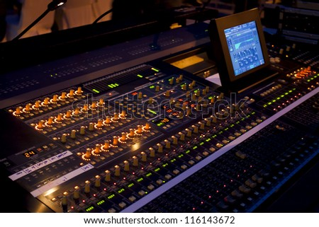 Sound mixer in concert - stock photo