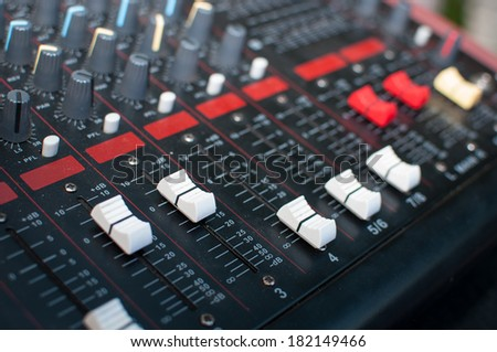 Sound mixer useful for various music and sound themes - stock photo