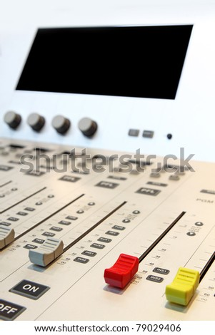 sound mixer with blurry background - stock photo