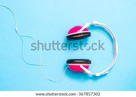 Sound music headphone. Audio technology. Modern earphone. Stereo volume equipment object. Digital ear phone with cable. Dj studio entertainment. Personal electronic device. Portable mobile recording.