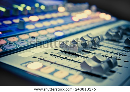 sound music mixer control panel - stock photo