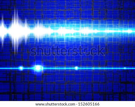 Sound signal in the blue background. Raster version of vector illustration  - stock photo