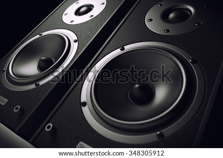 Sound speakers close-up. Audio stereo system. 3d - stock photo