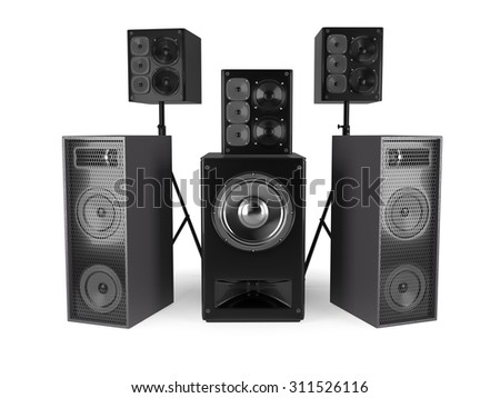 Sound Speakers System Isolated On White - stock photo