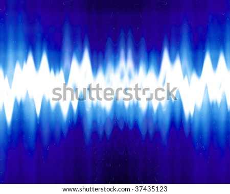 sound wave on a dark blue background - stock photo