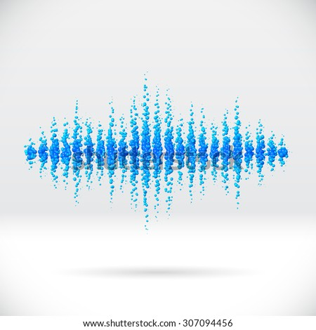 Sound waveform made of water themed scattered blue balls - stock photo