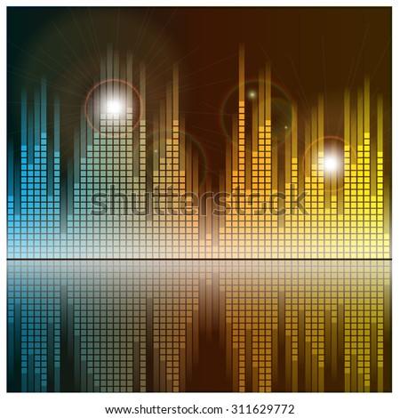 Sound waves and music background. Audio equalizer technology. Illustration. - stock photo