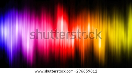 Sound waves oscillating magic glow blue red yellow light, modern Abstract pattern technology background. motion move blur. ray. beam. aura. dark