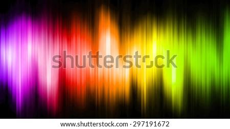 Sound waves oscillating magic glow purple orange green light, modern Abstract pattern technology background. motion move blur. ray. beam. aura. dark - stock photo