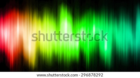 Sound waves oscillating magic glow red green blue light, modern Abstract pattern technology background. motion move blur. ray. beam. aura. dark