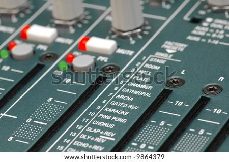 soundboard reverb settings close-up - stock photo