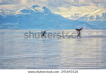 Sounding humpback whales in Alaska - stock photo