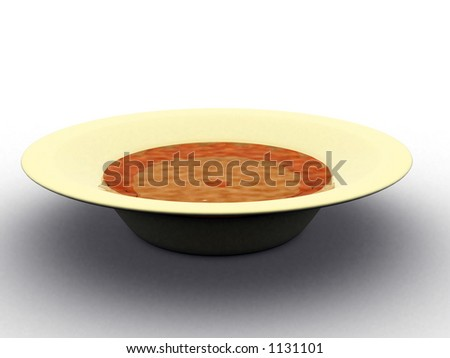 soup bowl - you can easily change the colour of the liquid - stock photo