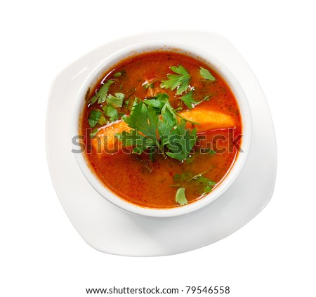 soup carpaccio Primavera .isolated on white background - stock photo