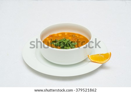 soup in a white cup