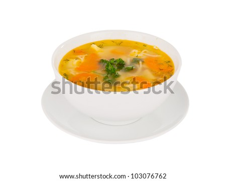 soup isolated on white background - stock photo